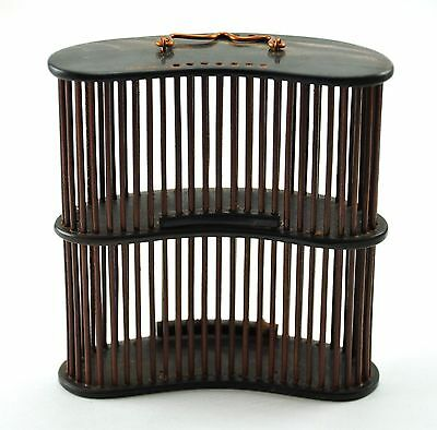 Vintage Chinese Double Decker Bamboo Insect Cricket Cage Handmade Carved