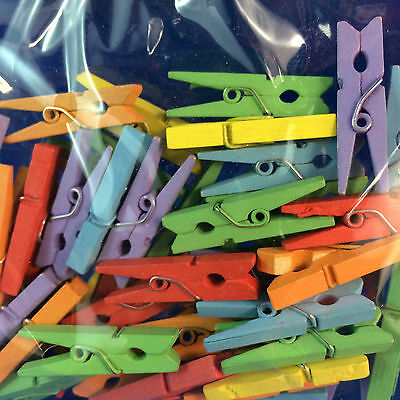 Mini coloured pegs 30mm size wooden for hanging cards or embellishments 50 pack