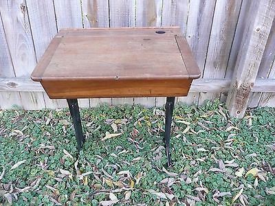 VINTAGE Antique Wood & Cast Iron Children's School Desk