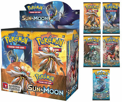 NEW! Pokemon TCG Sun and Moon- 5x Booster Packs -New Sealed 10 cards/pack