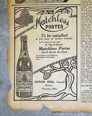 1911 Massachusetts Newspaper Page - Bowler Bros. Matchless Porter Beer Ad