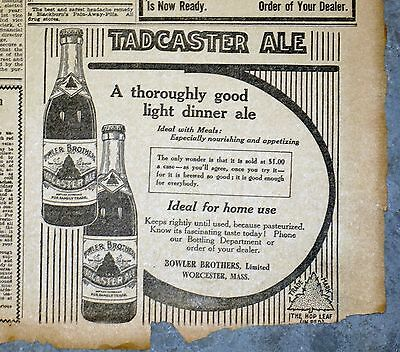 1911 Massachusetts Newspaper Page - Bowler Bros. Tadcaster Ale Ad