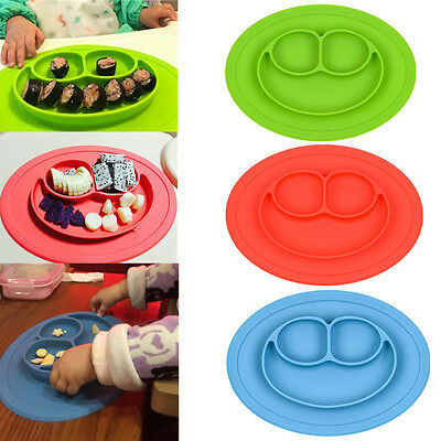 One-Piece Silicone Placemat Food Plate Mat Baby Child Kids Toddler Divided Bowl