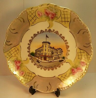 Old Advertising Souvenir Badger Hotel Wheelock Plate Merrill WI Wis Lincoln CO