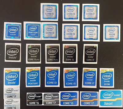 Intel Core i7/i5/i3/pentium/xeon Inside Sticker 4th/6th/7th Gen Black Badge