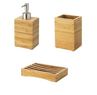 IKEA DRAGAN Natural Bamboo Wooden Toothbrush Holder Soap Dispenser Combo Set