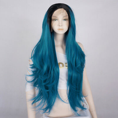 BlacK Mixed Blue Long Women 28 Inches Lace Front Heat Resistant Hair + Wig