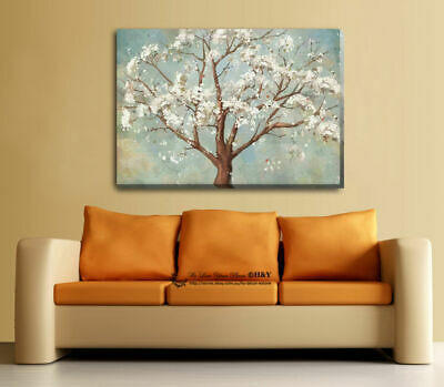 Blossom Tree Stretched Canvas Print Framed Wall Art Home Decor Painting White