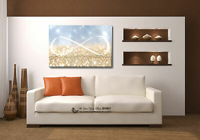 Love Infinity Stretched Canvas Print Framed Wall Art Home Office Decor Painting