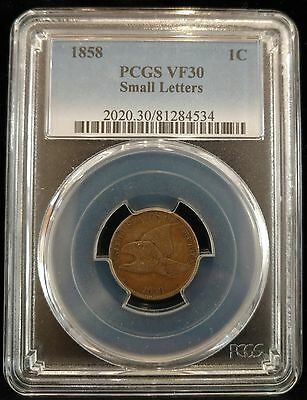 1858 Flying Eagle Cent Small Letters PCGS VF30