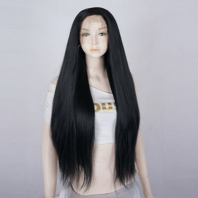 UK SELLER Heat Resistant Lace Front Wig 24 Inches Long Straight Black Lady