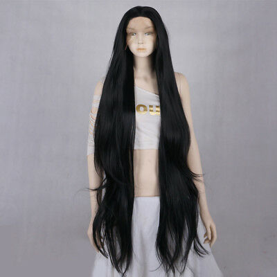 Black Wavy Women Girls 30 Inches Long Lace Front Heat Resistant Wig + Wig Cap