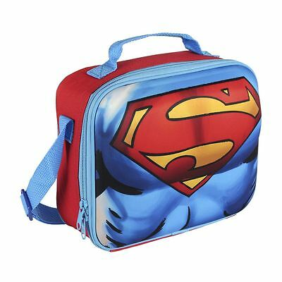 Children Kids Superman 3D Effect Insulated Red Lunch Bag