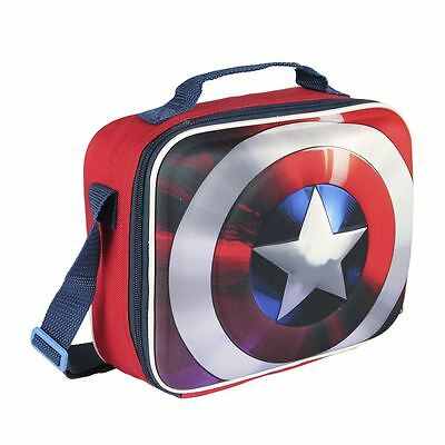 Children Kids Captain America 3D Effect Insulated Blue Lunch Bag