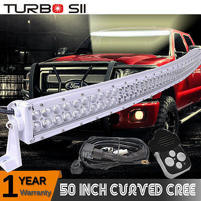 White 50inch Cree Curved Led Light Bar Combo W Wiring Kit For Ford F150 F250