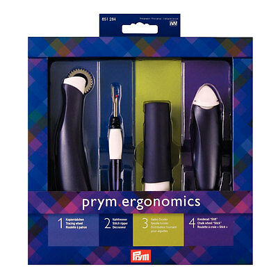 NEW Prym 651284 Gift Set Tracing Wheel Stitch Ripper Needle Twister Chalk Wheel