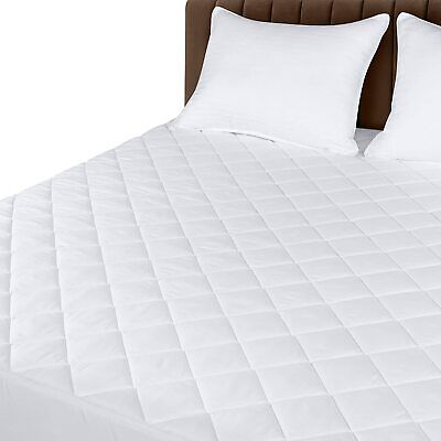"Quilted Fitted Mattress Pad Cover Stretches Up To 16"" Deep Utopia Bedding"