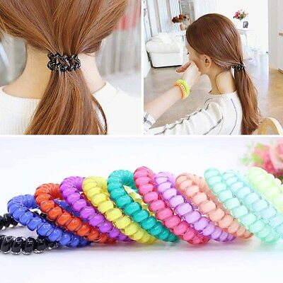 15 Colors Fashion Women Telephone Wire Soft Plastic Hair Ring Elastic Hair Bands