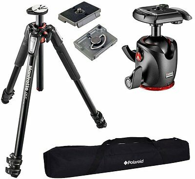 Manfrotto MT055XPRO3 3-Section Tripod XPRO Ball Head w/ 2 QR Plates & Carry Case