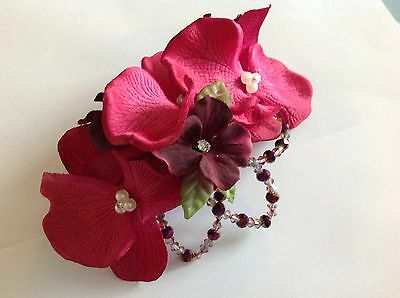 1940's Vintage Style Orchid Floral Beaded Small Fascinator
