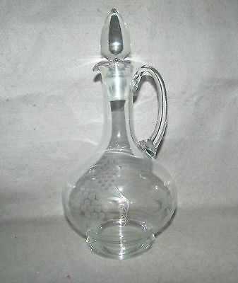 Large Glass Crystal Decanter with Stopper - Embossed
