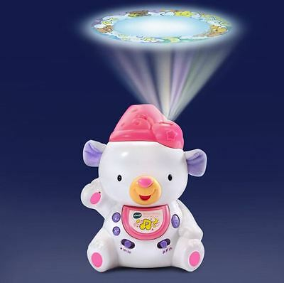 New Baby Sleepy Lullabies Soother Bear Projector Crib Toy Pink With Batteries