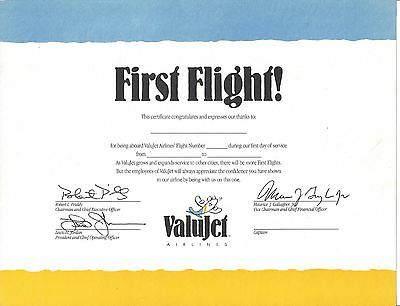 Valu Jet Airlines...1993 First Flight Certificate