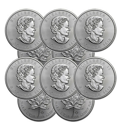 Lot of 10 Silver 2017 Canada 1 Oz .9999 Silver Maple Leaf $5 Coins