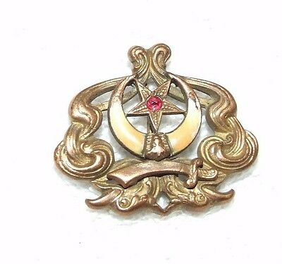 Antique 1800's Victorian Shriner Masonic Gold Plated Enamelled Pin Medal Badge