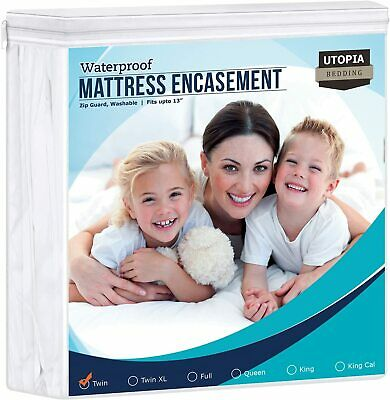 Mattress Encasement Cover Waterproof Zippered Bed Bug Proof by Utopia Bedding