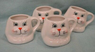 """Set 4 EASTER Bunny Mini Cups Ceramic 2"""" MUGS Holiday White Collect Miniature NEW"""