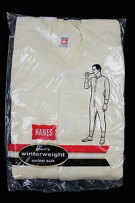 Vtg 1970s Hanes Men's Winterweight Union Suit Sz 42 Trunk 68 long johns