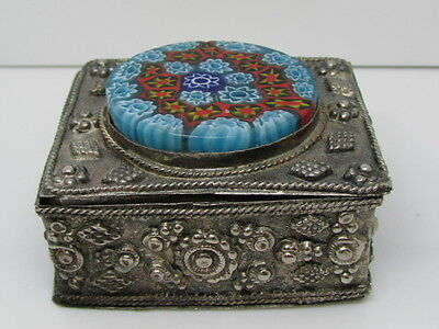 Intricate Detailed Silver Toned Trinket Box With Mosaic Topped Lid
