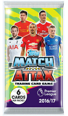 5x Topps Match Attax Season 16/17 Booster New Sealed Trading Cards 6/packet