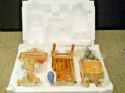 Enesco Cherished Teddies Old Fashioned Country Christmas 3 Piece Accessory Set