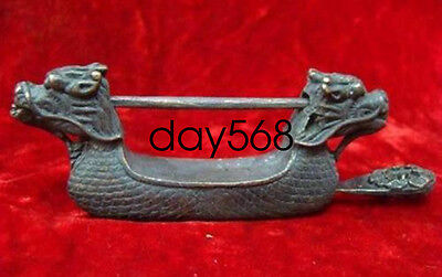 Chinese old style Brass Carved Double Dragon Figure lock with key LJQ386