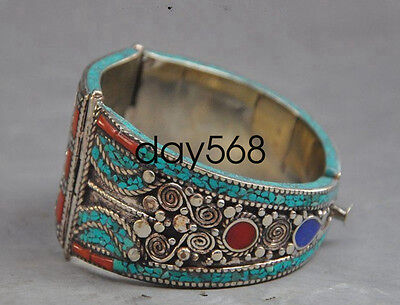 Old Chinese Tibet silver inlaid turquoise stones bracelet jewelry LJQ241