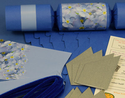 8 Blueberry & Forget Me Not Make & Fill Your Own Party Crackers Kit