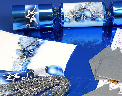 8 Blue Foil Christmas Make & Fill Your Own Party Crackers Kit