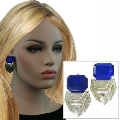 Vintage Big Mexico Jewel Clip On Earrings Blue