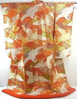 GORGEOUS Golden Uchikake Wedding Kimono with Clouds and Cranes!!