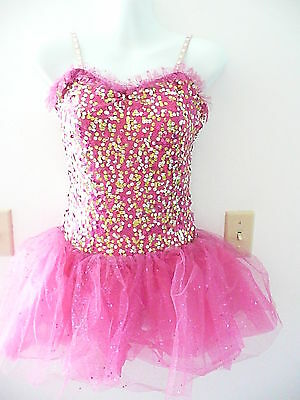 Competition dance costume.pink with silver and gold sequins..med adult