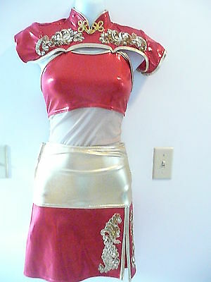 Custom made competition dance costume...red and gold asian looking