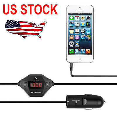 High Speed Wireless FM Transmitter Radio Car Kit with Audio Plug USB Car Charger