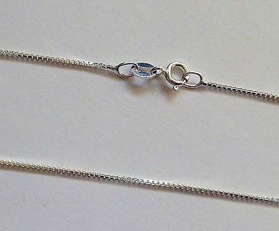 """Sterling Silver Box Necklace Chain 40cm 16"""" 0.70mm Fine Thin Real Genuine 925"""
