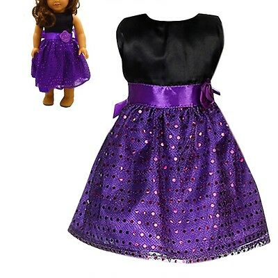 Handmade Purple Clothes Dress For 18inch Doll Party Kids Gift Toys