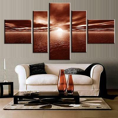 Landscape Wall Art Sunrise Sea Modern Brown Canvas Print Painting HomeDecor 5PCS