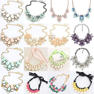 Fashion Statement Bib Jewelry Pendant Charm Chain Choker Chunky Crystal Necklace