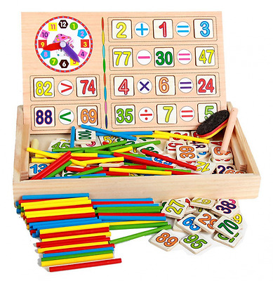HenMerry Children Wooden Mathematics game stick Counting Rods Math Numbers Arith