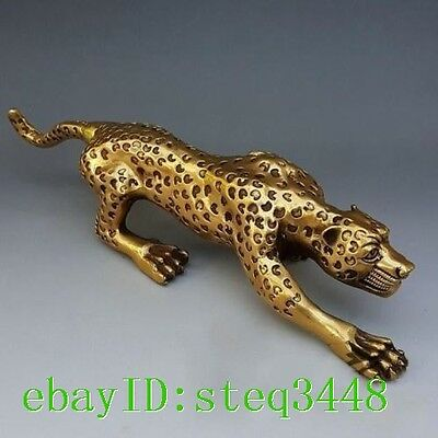 """Collectable 16"""" Huge Bronze Collect Leopard Panther Cheetah Run Statue"""